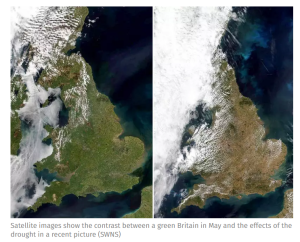 England looking very brown from space due to heatwave