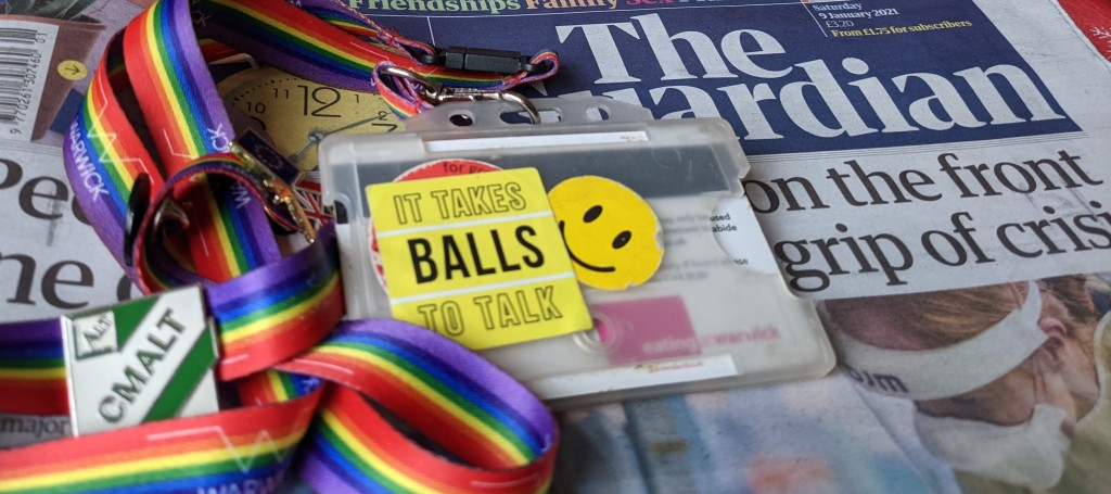 overturned lanyard and today's front page of The Guardian.